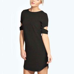 Boohoo Cattia Cut Out Sleeve Shift Mini Dress